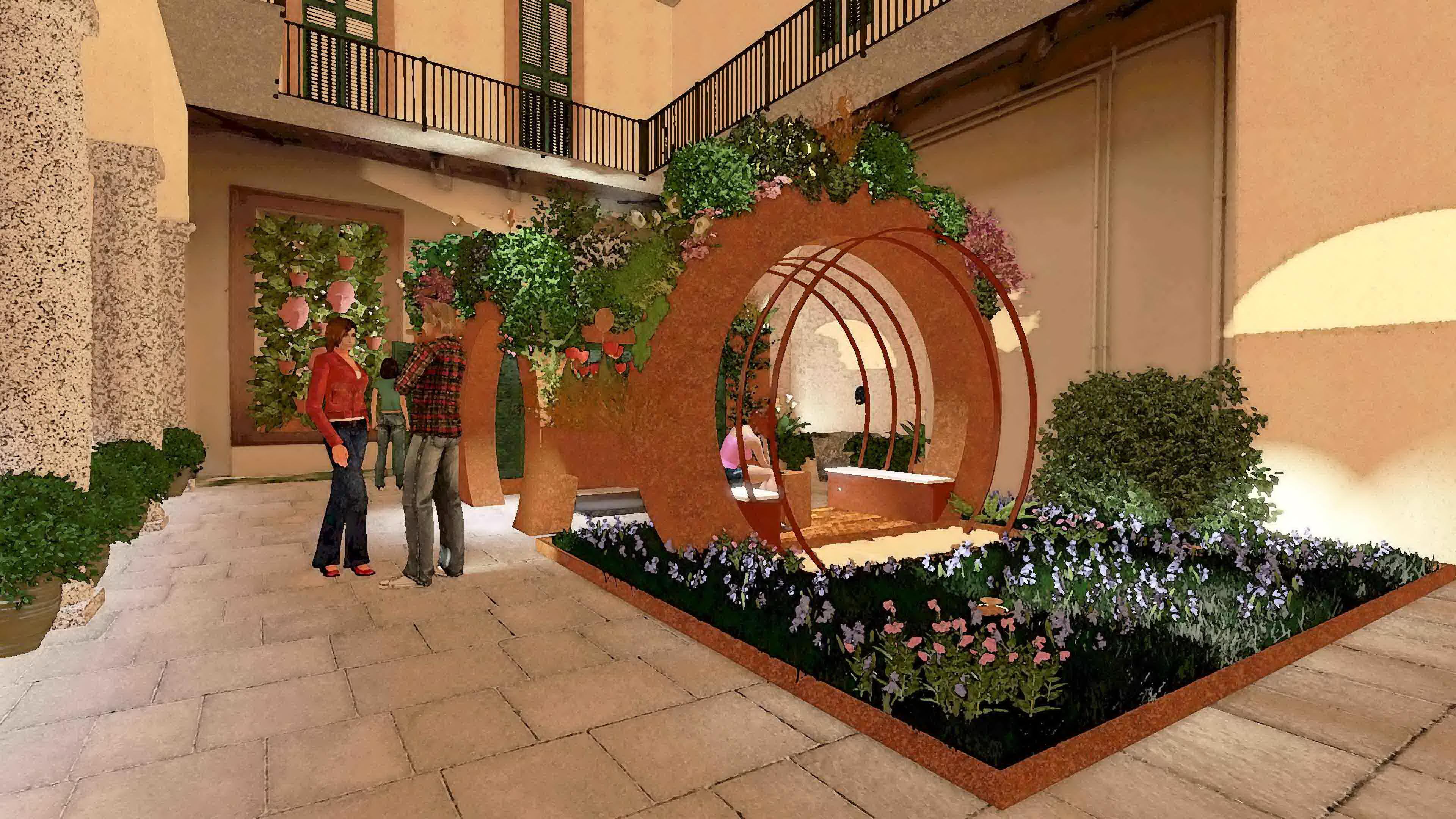 Giardino zen balcone con sculture in ferro da giardino for Fontane da balcone